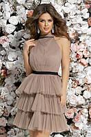 Шикарное короткое приталенное женское платье под пояс из сетки с пышной юбкой 42, 44, 46