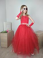 Детское нарядное бальное платье/ красное