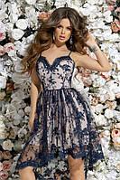 Обворожительное короткое женское платье из сетки с вышивкой на тонких бретельках 42, 44, 46