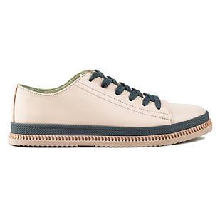 Кеды женские 37 размер Woman's heel серо-розовые кожанные на шнуровке из закругленным носком