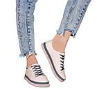 Кеды женские 37 размер Woman's heel серо-розовые кожанные на шнуровке из закругленным носком, фото 4