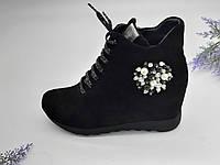 Ботинки женские Guero черный 55-B замша 37(р)
