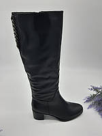 Сапоги женские Dali Fashion черный 68-16-6 кожа 36(р)