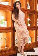 Платье женское нарядное бежевого цвета, платье праздничное коктейльное со шлейфом, фото 1