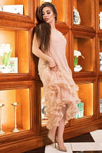 Сукня жіноча ошатне бежевого кольору, плаття святкове коктейльне зі шлейфом