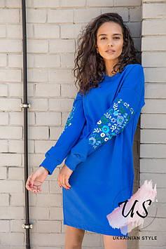 Стильное трикотажное платье-туника с вышитыми рукавами. 4 цвета!