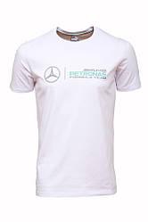 Футболка мужская Пума Мерседес белая хлопок 100% (реплика) T-Shirt Puma Merсedes White