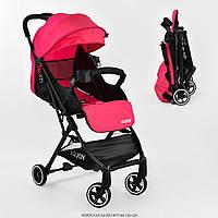 Коляска прогулочная детская С - 410 'JOY' (1) цвет РОЗОВЫЙ, футкавер, дождевик, съемный бампер