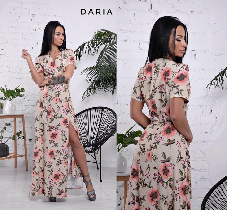 2151fc57fc5 Платье женское на запах длинное в пол красивый цветочный принт Smch3182