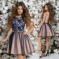 Красивое приталенное короткое женское платье верх из гипюра и пышная юбка с отделкой из сетки  42, 44, 46