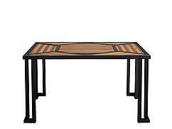 Столы из металла и натурального дерева.