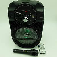 """Акустическая система аккумуляторная беспроводная Bluetooth колонка 6.5"""" радио и микрофон USB FM 15 Вт Lige A66"""