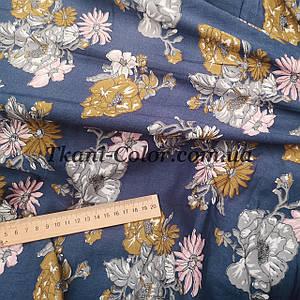 Ткань штапель принт цветочки на синем
