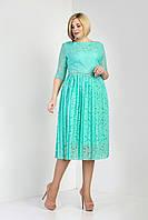Изящное женское платье с юбкой плиссе бирюзовое