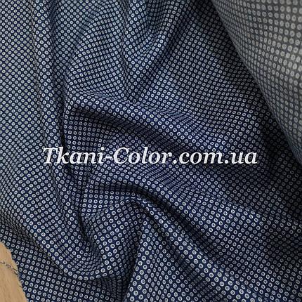 Сорочкова тканина дрібний горох на синьому, фото 2