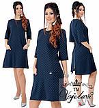 Платье трапеция 48-62 рр. синий, мята, персик, фото 3