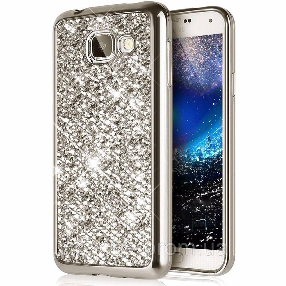 Чехол/Бампер блеск с кристаллами для Samsung J5 Prime (G570) Серебро (Силиконовый)