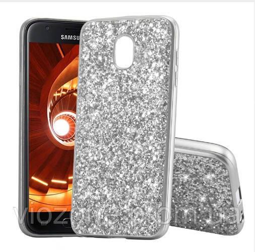 Чехол/Бампер блеск с кристаллами для Samsung J7 2017 (J730) Серебро (Силиконовый)