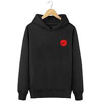 Мужская весенняя черная кофта-худи, кенгуру, балахон Nike (красный лого), Реплика