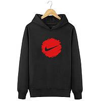 Мужская весенняя черная кофта-худи, кенгуру, балахон Nike (крупный красный лого), Реплика