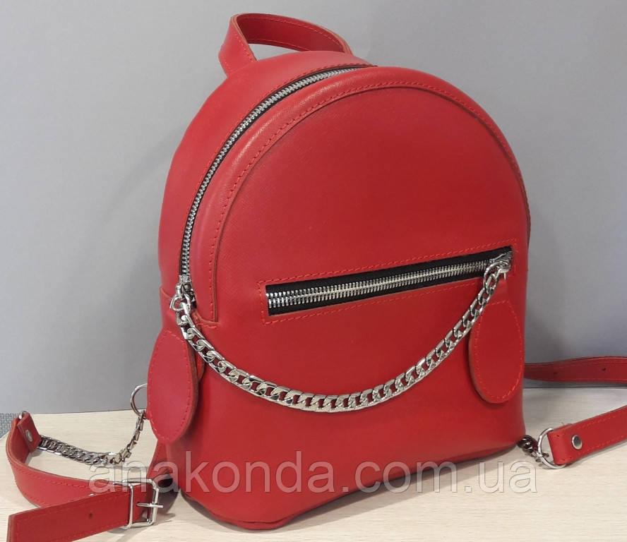 112-1 Натуральная кожа Городской рюкзак Кожаный рюкзак Из натуральной кожи Рюкзак женский красный рюкзак