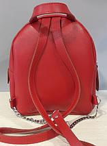 112-1 Натуральная кожа Городской рюкзак Кожаный рюкзак Из натуральной кожи Рюкзак женский красный рюкзак, фото 3