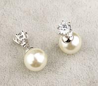 Сережки реплика Mise En Dior белые покрытие 18К платина