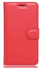 Кожаный чехол-книжка для Huawei Y7 красный