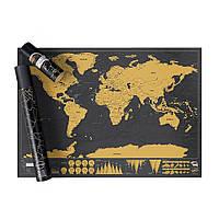 Скретч карта Мира в тубусе Gold Black Edition (SC-2099), фото 1