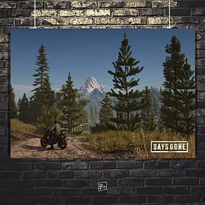 Постер Days Gone, Жизнь после. Дорога и гора вдали. Размер 60x43см (A2). Глянцевая бумага