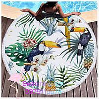 Коврик пляжное покрывало Тукан Ананас подстилка микрофибра махра круглое полотенце 150 см с бахромой