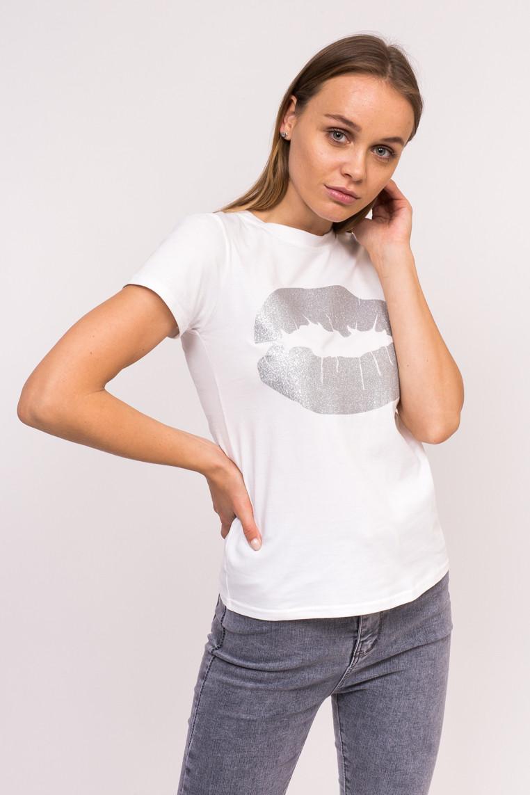 Молодежная футболка с принтом губ Xuannuo - белый цвет, S (есть размеры)