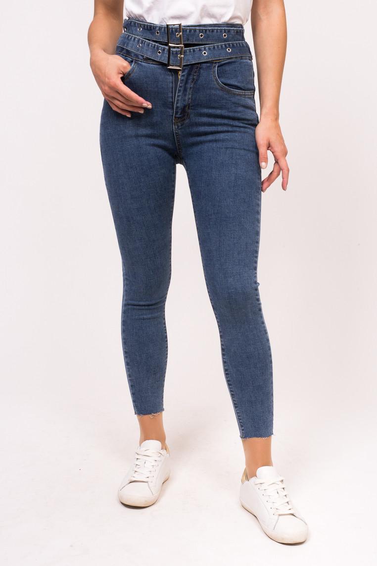 Облегающие женские джинсы с вшитым ремнем M-M - джинс цвет, L (есть размеры)