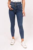 Облегающие женские джинсы с вшитым ремнем M-M - джинс цвет, L (есть размеры), фото 1
