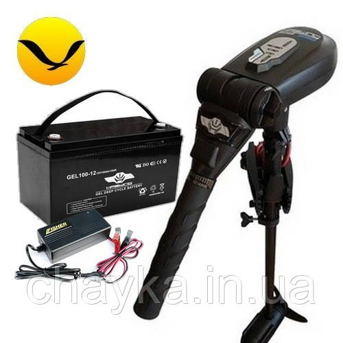 Электромотор для лодки Haswing Protruar 1.0 +120a/h AGM аккумулятор +зарядка 10A. Комплект; (Лодочный электромотор Хасвинг Протруар 1.0);