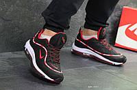 Мужские кроссовки черные с белым и красным Nike Air Max 98 Off White 7057
