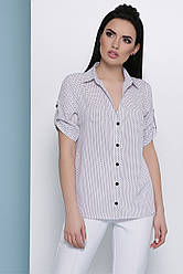 Жіноча сорочка в дрібний горох з коротким рукавом