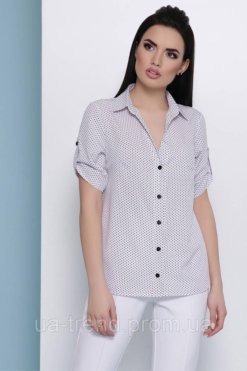 Женская рубашка в мелкий горох с коротким рукавом