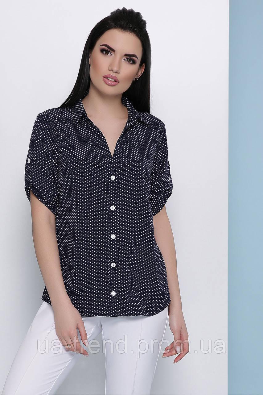 Блуза в горошек короткий рукав