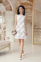 Нарядное белое платье до колен