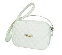 Стёганая сумочка через плечо лаковая белая, фото 1