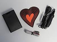 Подсветка автомобильная сердце неоновое 12V 16 режимов свечения