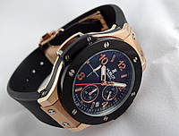 Женские часы HUBLOT - geneve кварцевые с секундомером, каучуковый черный ремешок, класс AAA