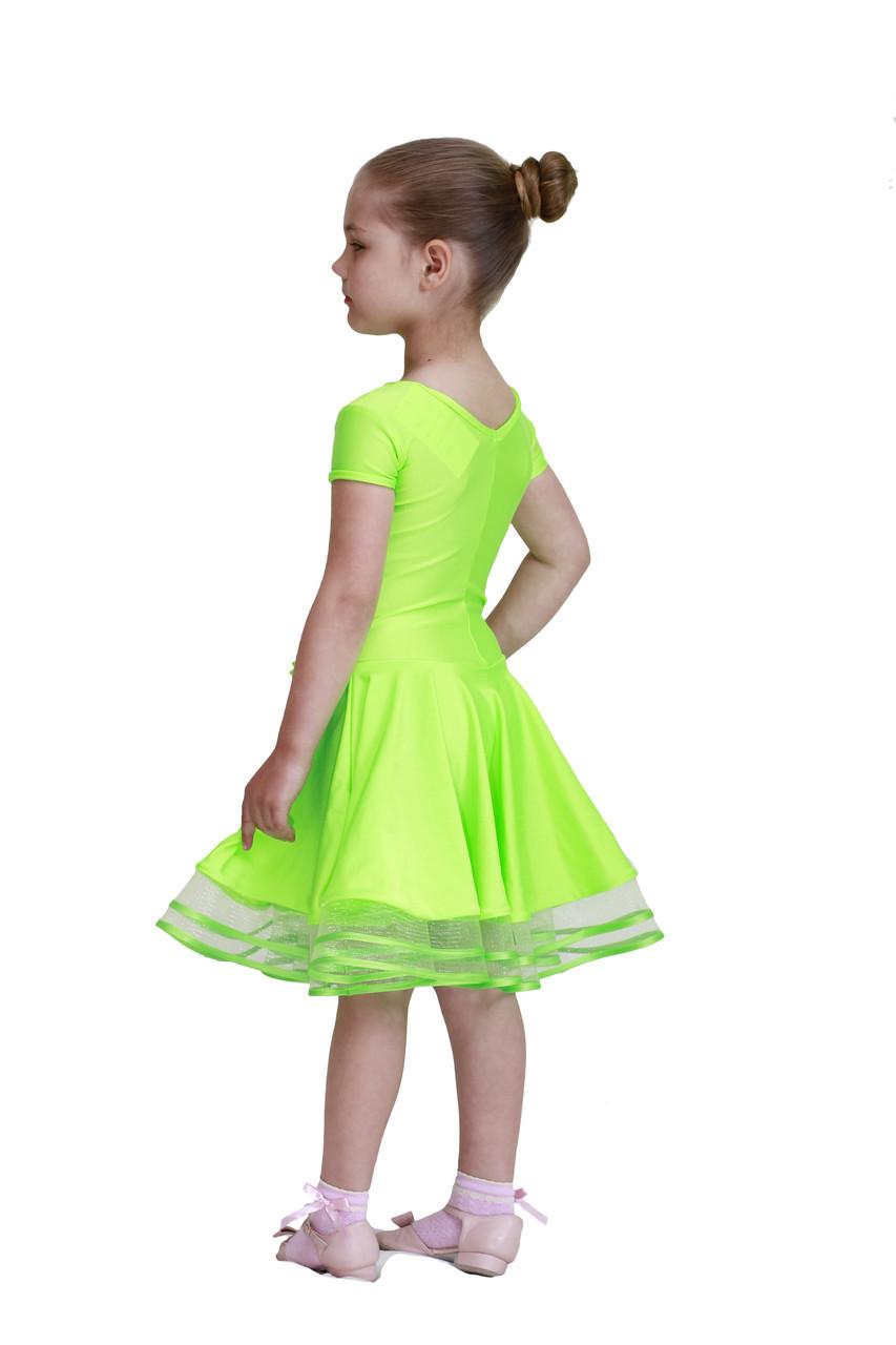 Рейтинговое платье ( Бейсик ) для бальных танцев Sevenstore 526 Салатовый