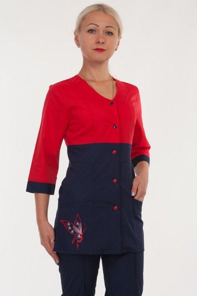 Медицинский костюм женский с вышитой бабочкой 2291( батист 40-60 р-ры )