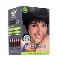 Краска для волос на основе натуральной хны Color Mate 75 г. Натуральный черный цвет. 9.1