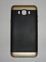 Чехол накладка iPAKY Карбон Samsung Galax J7 J710 (2016) золотистый.