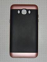 Чехол накладка iPAKY Карбон Samsung Galax J7 J710 (2016) розовый.