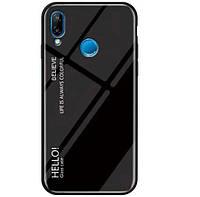 TPU+Glass чехол Epik Gradient HELLO для Huawei P Smart (2019) Черный