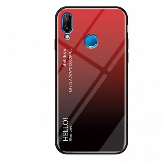 TPU+Glass чехол Epik Gradient HELLO для Huawei P Smart+ (nova 3i) Красный